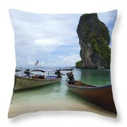Long Tail Boats Thailand Throw Pillow by Bob Christopher