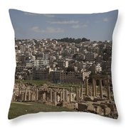 Looking Down At The Ancient And Modern Throw Pillow by Taylor S. Kennedy