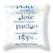 Lord Peace Throw Pillow by Judy Dodds