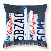 Los Angeles Skyline License Plate Art Throw Pillow by Design Turnpike