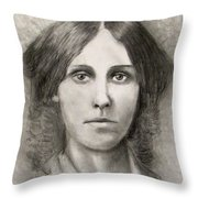 Louisa May Alcott Throw Pillow by Jack Skinner