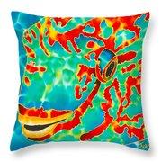 Lucky Parrotfish Throw Pillow by Daniel Jean-Baptiste