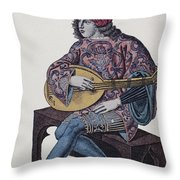Lute Player, 1839 Throw Pillow by Granger
