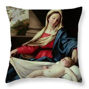 Madonna And Child  Throw Pillow by II Sassoferrato