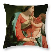 Madonna And Child Throw Pillow by Simon Vouet