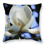 Magnolia In Blue Throw Pillow by Carol Groenen