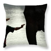 Mahut With Elephant Throw Pillow by Bob Christopher