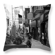 Maiden Lane San Francisco California - 5d19376 - Black And White Throw Pillow by Wingsdomain Art and Photography