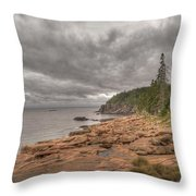 Maine Coastline. Acadia National Park Throw Pillow by Juli Scalzi