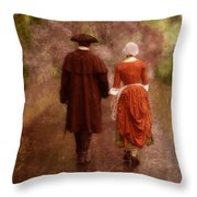 Man and Woman in 18th Century Clothing Walking Throw Pillow by Jill Battaglia