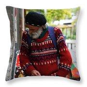 Man in a Red Sweater Throw Pillow by Lorraine Devon Wilke