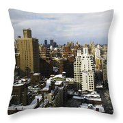 Manhattan View On A Winter Day Throw Pillow by Madeline Ellis