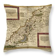 Map Of Palestine, 1588 Throw Pillow by Photo Researchers