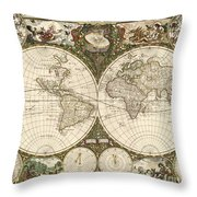 Map Of The World, 1660 Throw Pillow by Photo Researchers