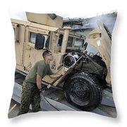 Marine Uses A Pressure Washer To Clean Throw Pillow by Stocktrek Images
