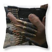 Marines Prepare The M-240g Medium Throw Pillow by Stocktrek Images