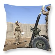 Marines Prepare To Fire A 120mm Mortar Throw Pillow by Stocktrek Images