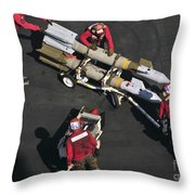 Marines Push Pordnance Into Place Throw Pillow by Stocktrek Images