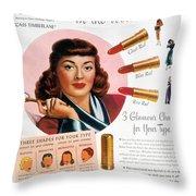 MAX FACTOR LIPSTICK AD Throw Pillow by Granger