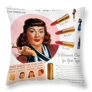 Max Factor Lipstick Ad Throw Pillow by Granger