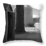 Meeks Outhouse Throw Pillow by Teresa Mucha
