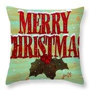 Merry Christmas Throw Pillow by Georgeta  Blanaru