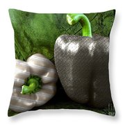 Metal Peppers Throw Pillow by Cheryl Young