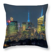 Mid-town Manhattan Twilight I Throw Pillow by Clarence Holmes