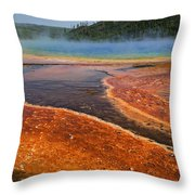Middle Hot Springs Yellowstone Throw Pillow by Garry Gay