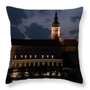 Mikulov Castle At Night Throw Pillow by Michal Boubin