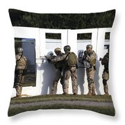 Military Reserve Members Prepare Throw Pillow by Michael Wood