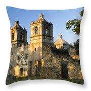 Mission Concepcion In The Evening Throw Pillow by Ellie Teramoto