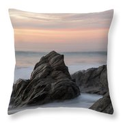 Mist Surrounding Rocks In The Ocean Throw Pillow by Keith Levit