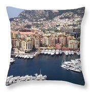 Monaco Harbour Throw Pillow by Marlene Challis