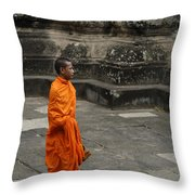 Monk At Ankor Wat Throw Pillow by Bob Christopher
