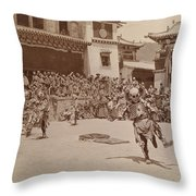 Monks Dressed As Departed Spirits Throw Pillow by Dr. Joseph F. Rock
