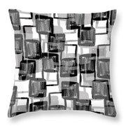 Monochrome Squares Throw Pillow by Louisa Knight
