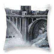 Monroe St Bridge 2 - Spokane Washington Throw Pillow by Daniel Hagerman