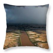 Monsoon Rains Over A Muddy River Throw Pillow by Randy Olson
