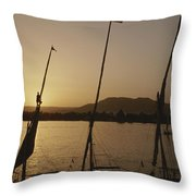 Moored Feluccas On The Nile River Throw Pillow by Kenneth Garrett
