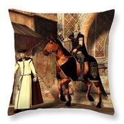 Mordechai And Haman Throw Pillow by Daniel Eskridge