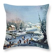 Morning By Currier And Ives Throw Pillow by Susan Leggett