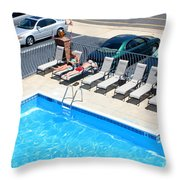 Motel Pool And Surroundings Throw Pillow by Susan Stevenson