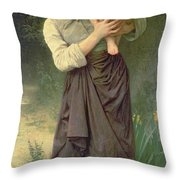 Mother And Child Throw Pillow by William Adolphe Bouguereau