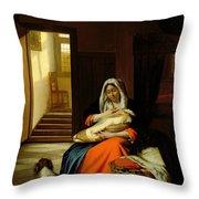 Mother Nursing Her Child Throw Pillow by  Pieter de Hooch