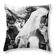 Motorcycle Club Wedding Throw Pillow by Granger