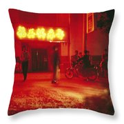 Motorcyclists Outside A Karaoke Bar Throw Pillow by Justin Guariglia