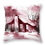 Mountain Cabin Throw Pillow by David Lane