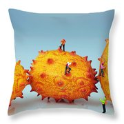 Mountain Climber On Mangosteens II Throw Pillow by Paul Ge