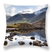 Mountains And Lake At Lake District Throw Pillow by John Short